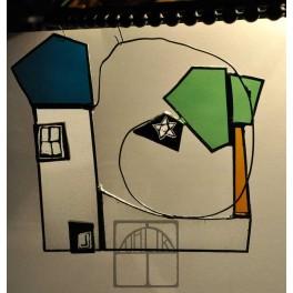Vitrážový obrázek domek s lípou